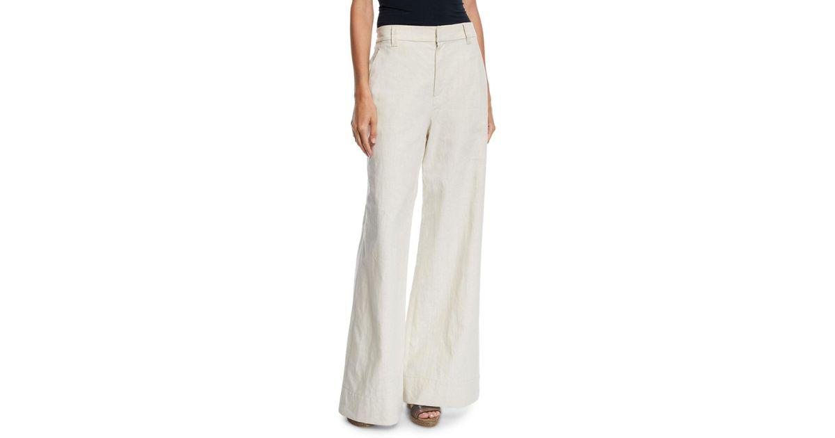 a5cd9646b4 Brunello Cucinelli High-waist Flare-leg Linen-cotton Pants in Natural - Lyst