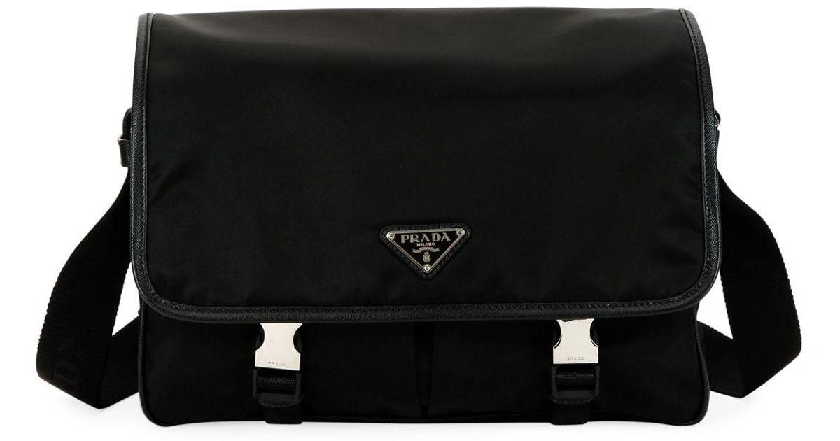 6e8f9362aa63 Lyst - Prada Men s Large Nylon Messenger Bag in Black