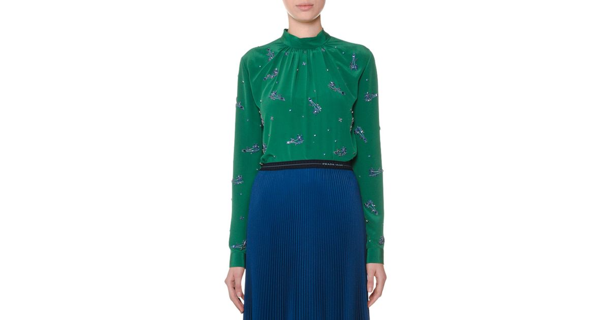54575d71659f0a Lyst - Prada High-neck Long-sleeve Embellished Silk Crepe De Chine Blouse  in Green - Save 65%