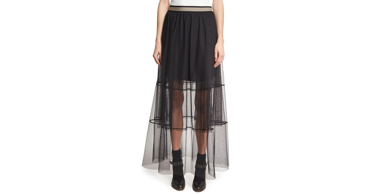 9e13ff9112 Brunello Cucinelli Sheer Tiered Tulle Maxi Skirt With Contrast Waist in  Black - Lyst