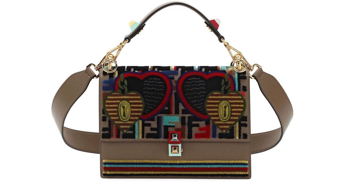 0750660b5eb4 Lyst - Fendi Embroidery Tappetino Kan I Shoulder Bag