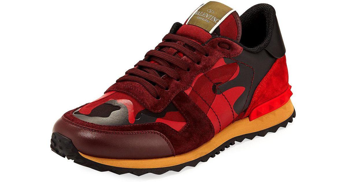 7281c6260d982 Valentino Men's Rockrunner Camo Sneaker in Red for Men - Lyst