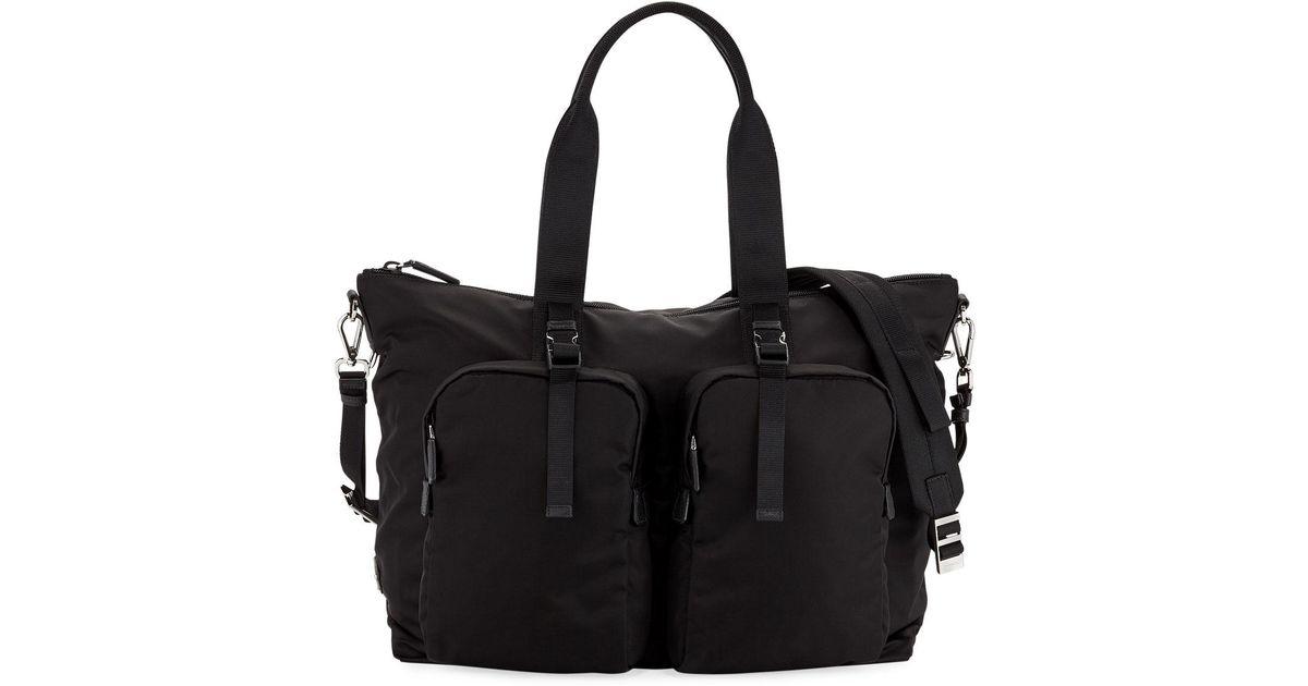 350fc35ea95b Lyst - Prada Men's Tessuto Montagna Duffel Bag With Strap in Black