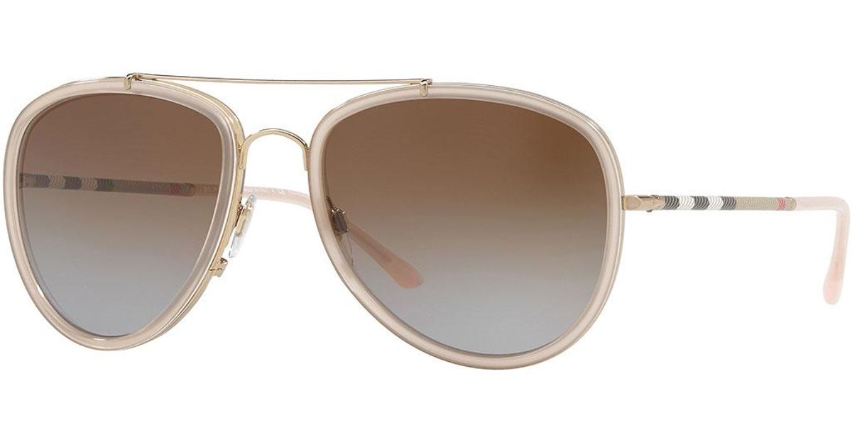 8105b0c3190 Lyst - Burberry Steel Aviator Sunglasses W  Check Arms in Red