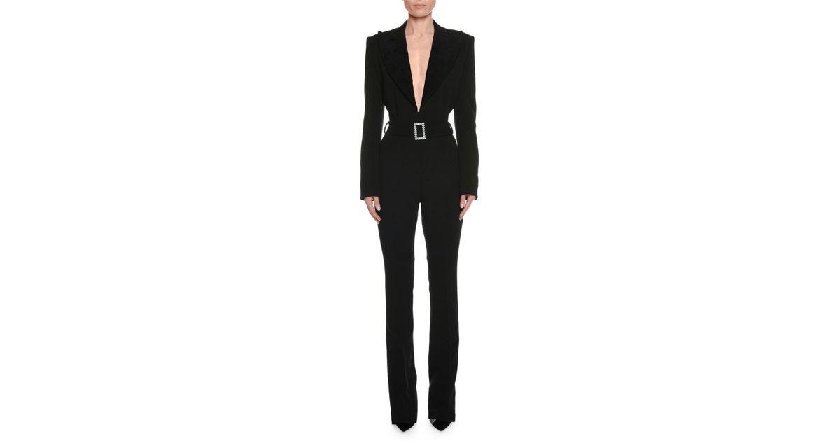 074e04cc9631 Lyst - Tom Ford Long-sleeve Plunging Tuxedo Straight-leg Jumpsuit With  Velvet Lapel in Black