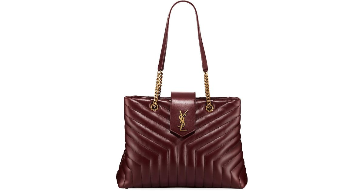 9feaa4d6660 Lyst - Saint Laurent Loulou Monogram Ysl Large Quilted Shoulder Tote Bag -  Lt. Bronze Hardware in Red