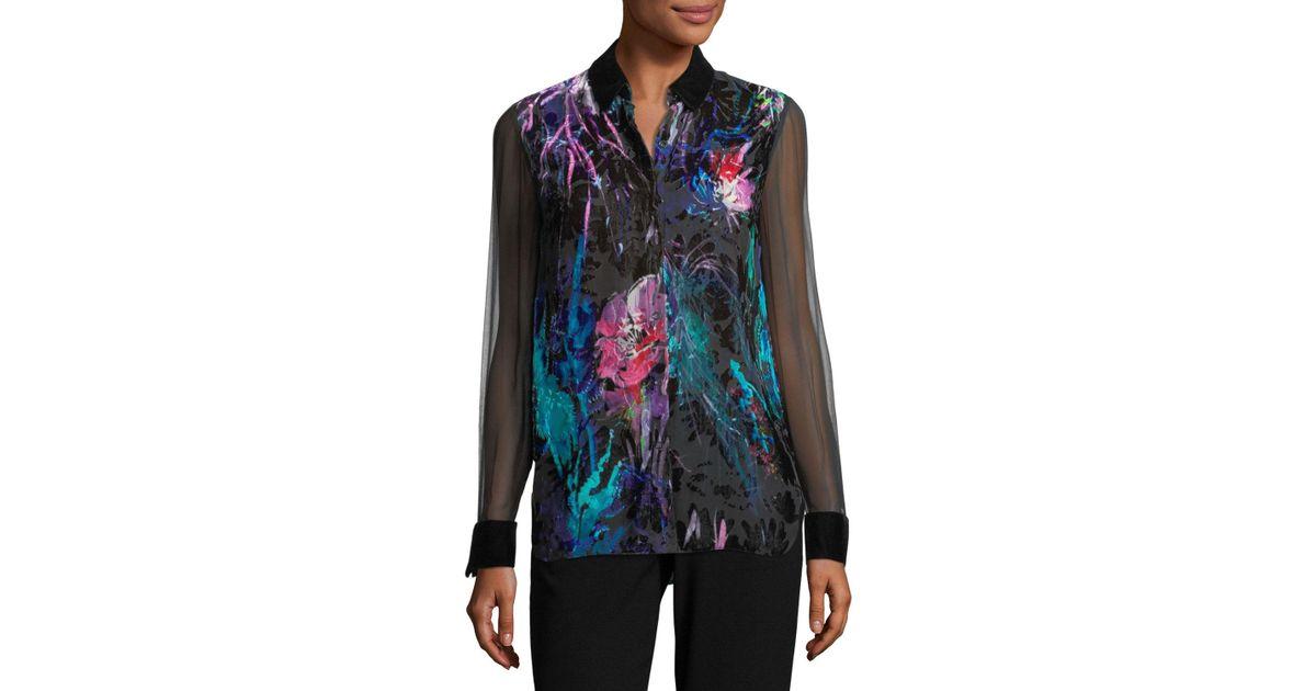 ce4cb7601f41ee Lyst - Elie Tahari Martha Long-sleeve Floral Velvet Blouse
