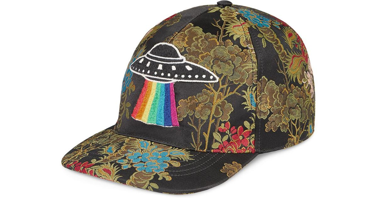 Lyst - Gucci Floral Baseball Cap With Ufo in Green for Men 85aeb85f2d76
