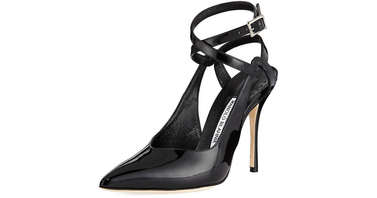e332c06c96e0 Lyst - Manolo Blahnik Lero Patent Leather Crisscross Ankle-strap Pumps in  Black