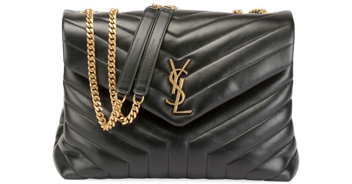 018d283bbfe Saint Laurent Loulou Monogram Ysl Medium Quilted V-flap Chain Shoulder Bag  in Black - Lyst