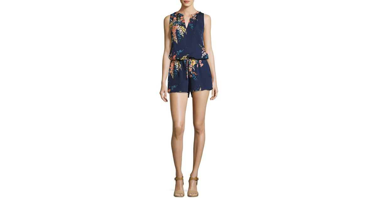 ec3bf509084 Lyst - Joie Tere Floral-print Silk Romper in Blue