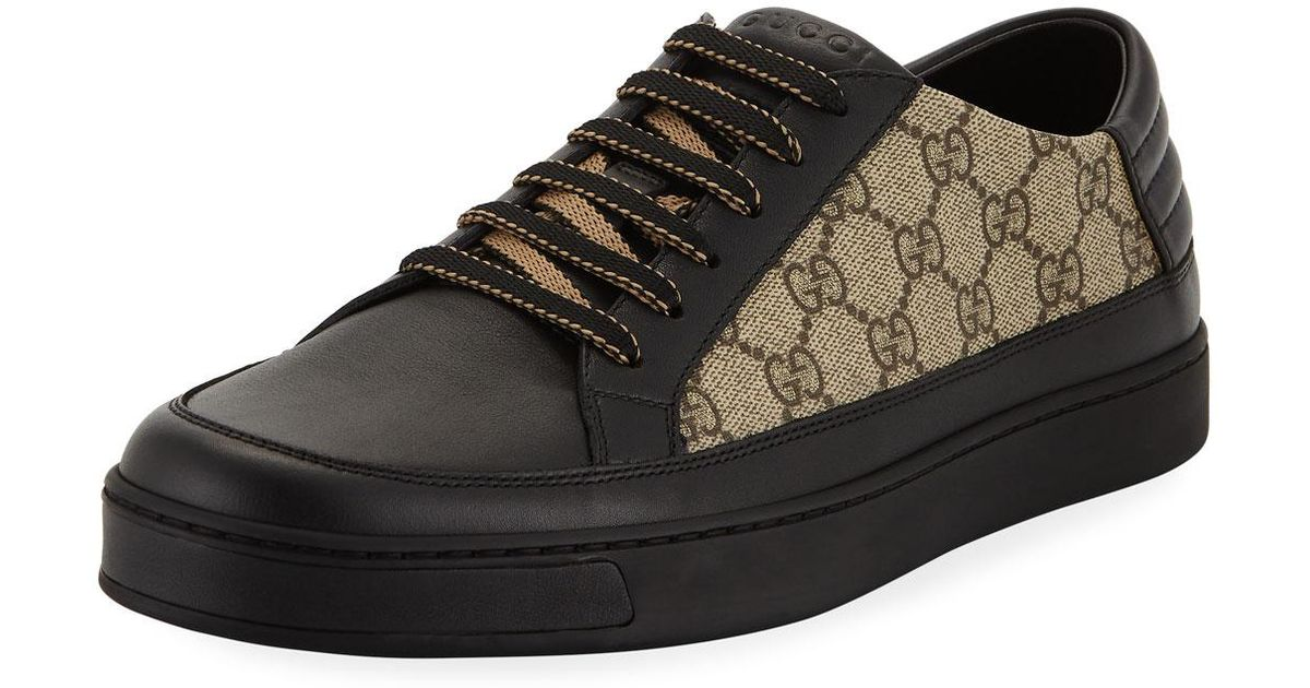 ef956cddb3b072 Gucci Men's Common GG Supreme Low-top Sneakers in Black for Men - Lyst