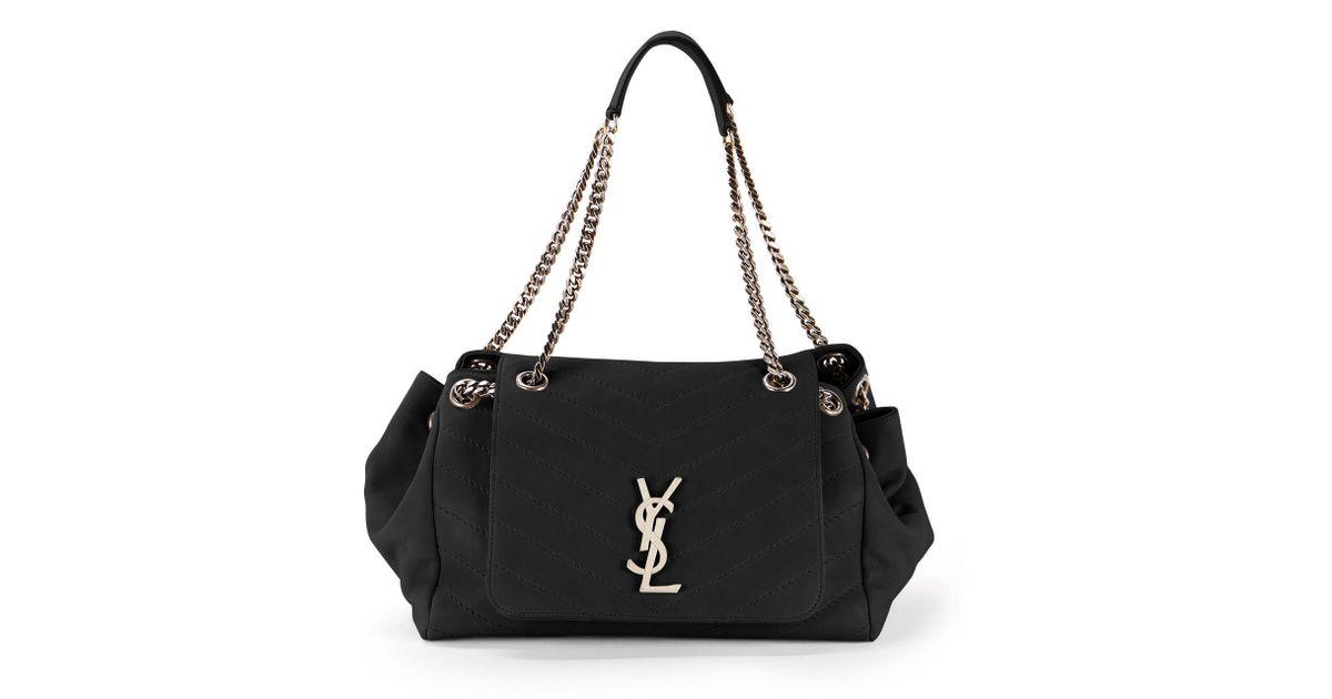 10d4cc45f1e6 Lyst - Saint Laurent Nolita Large Monogram Ysl Double Chain Shoulder Bag in  Black