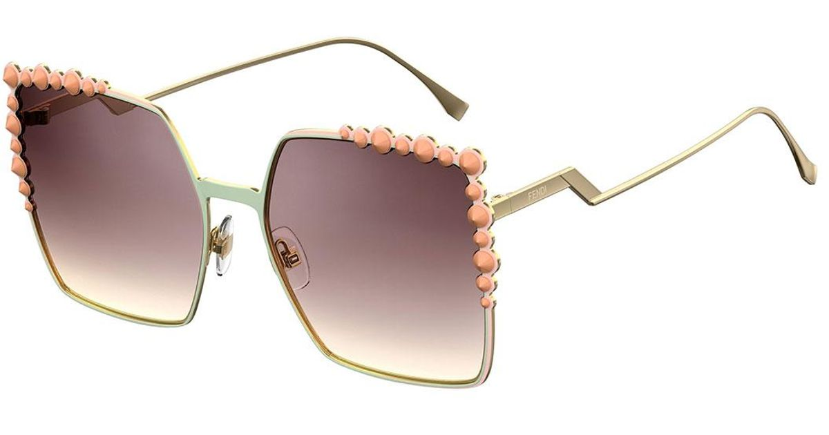 7b5e708ff6 Lyst - Fendi Can Eye Studded Oversized Square Sunglasses in Pink