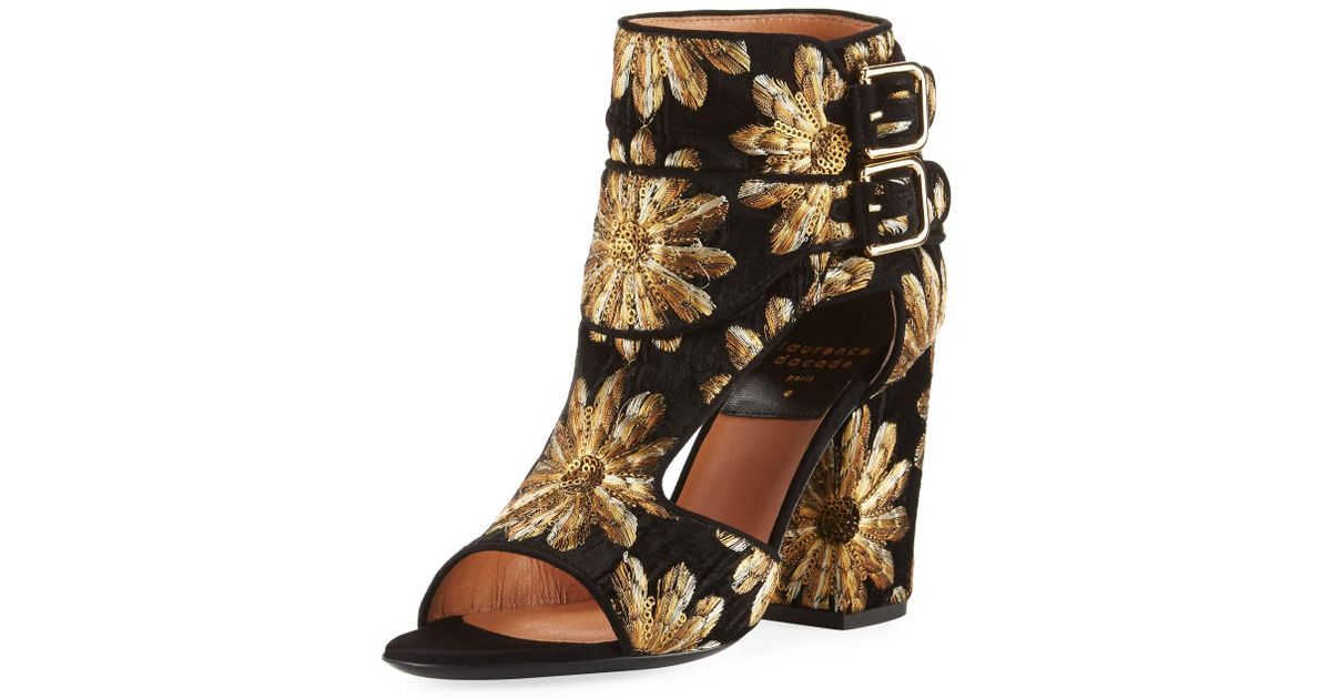 Laurence Dacade Rush Metallic-Embroidered Velvet Open-Toe Bootie xB3fv