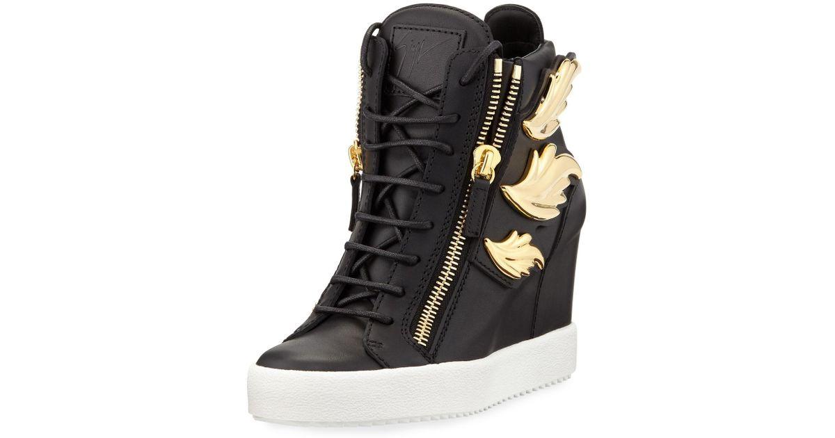 17d0f30f422c3 Giuseppe Zanotti Cruel Embellished Leather Wedge Sneakers in Metallic - Lyst