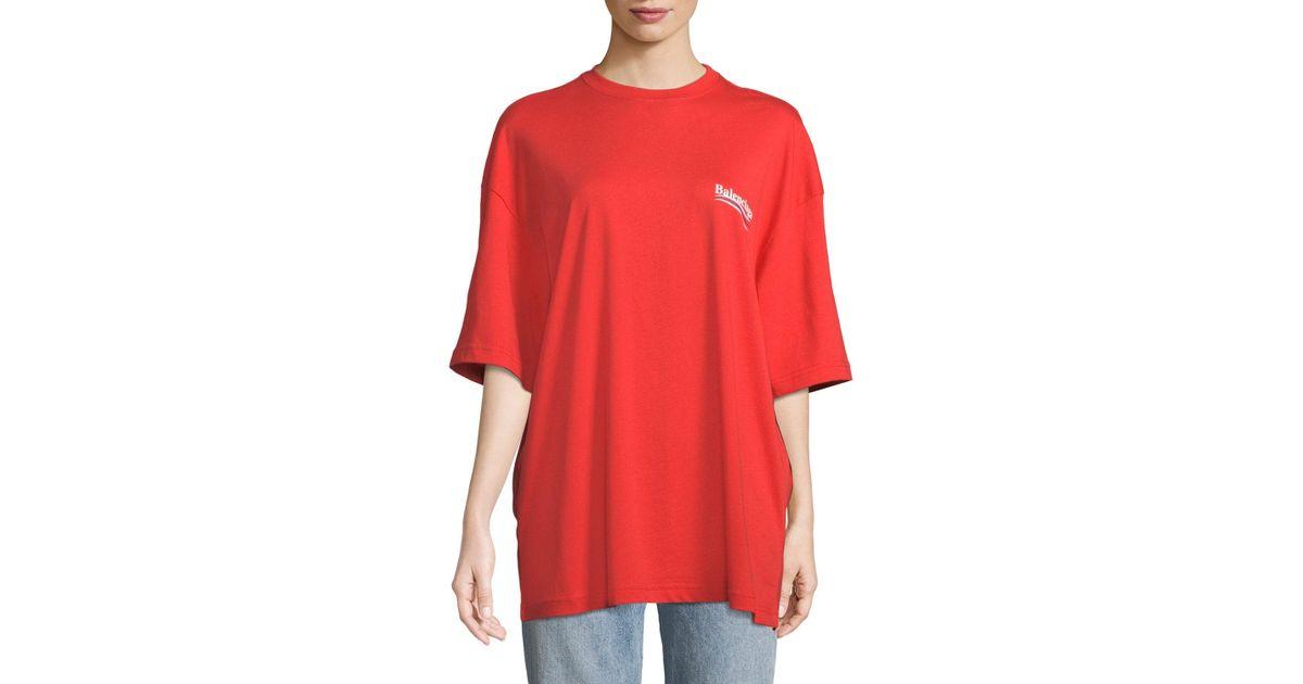 56e927cb5896 Balenciaga Crewneck Short-sleeve Oversize Campaign-logo Cotton T-shirt in  Red - Lyst
