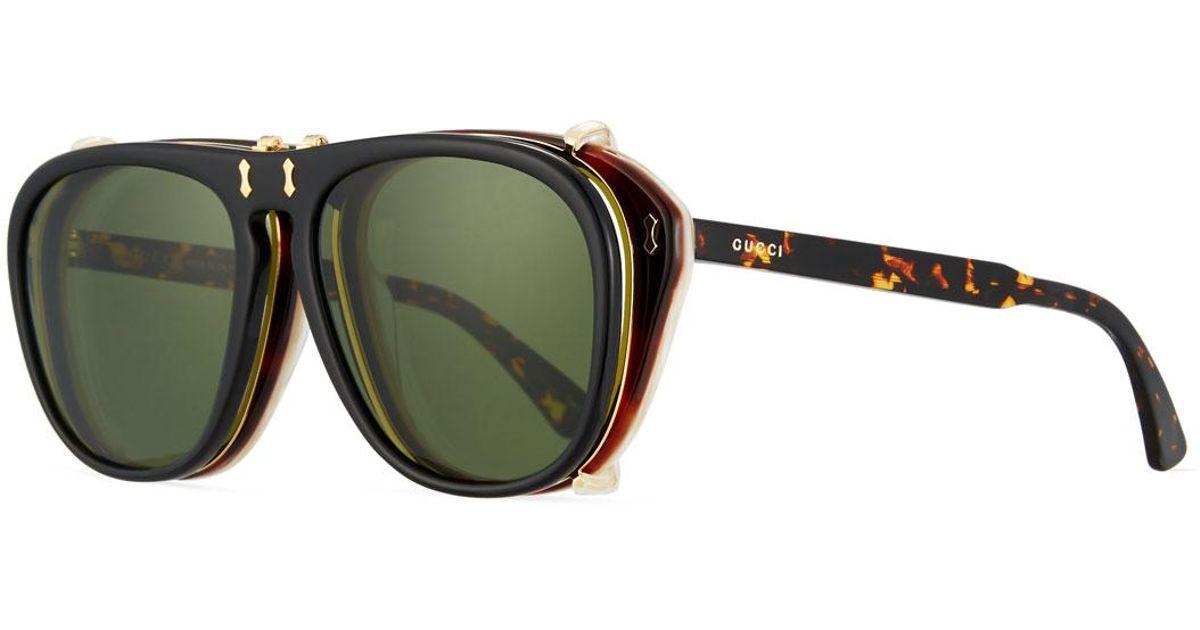 5b9bb379758 Gucci Men s Acetate Aviator Optical Frames W  Sunglasses in Brown for Men -  Lyst