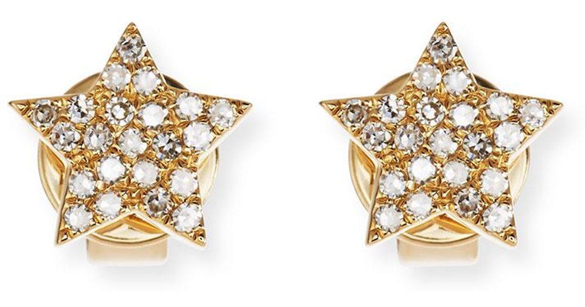 EF Collection Pavé Diamond 14K Gold Star Stud Earrings N1IYaCL4U