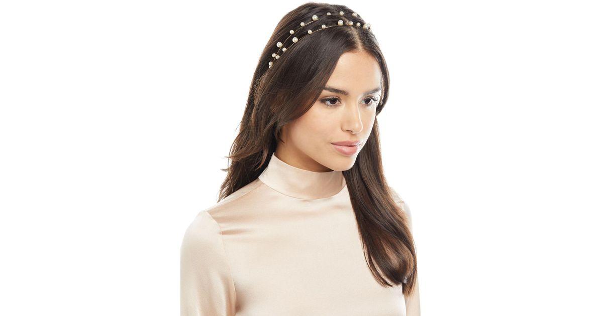 Lyst - Jennifer Behr Sybil Swarovski® Pearl Bandeau Headband in Metallic 1c4c88cf2bb