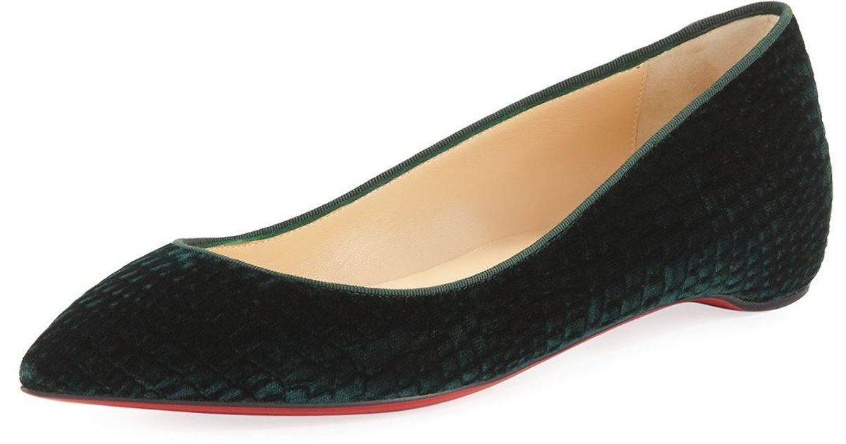 b8c8268eb40e Lyst - Christian Louboutin Pigalle Follies Quilted Velvet Red Sole Flat in  Green