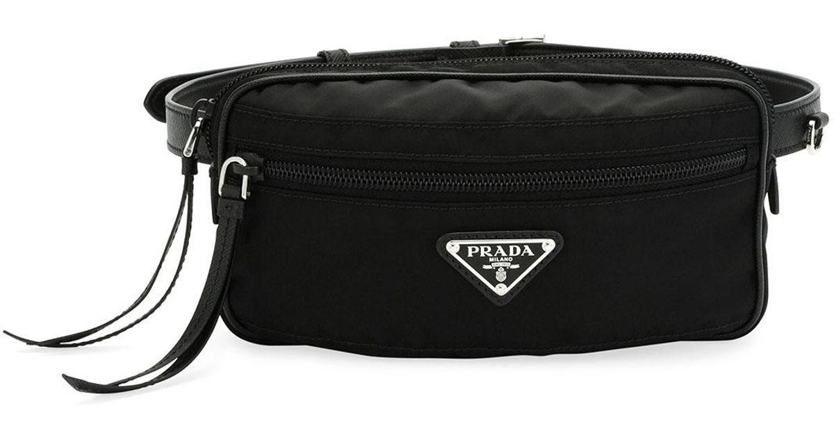 cf35df2052ce Lyst - Prada Nylon Belt Bag in Black