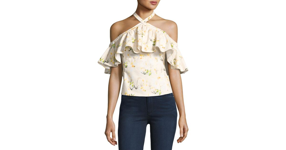 564937939ad03 Lyst - Rebecca Taylor Firefly Floral Cold-shoulder Top