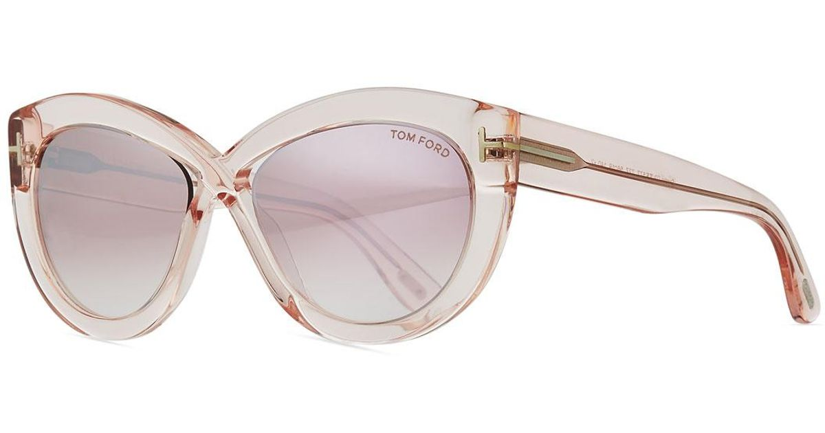 db25799258 Lyst - Tom Ford Diane Transparent Acetate Butterfly Sunglasses