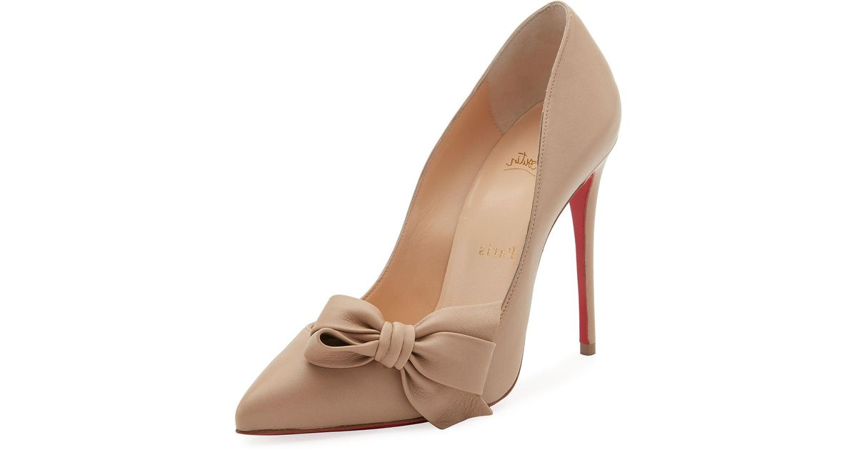 21932392f6c2 Lyst - Christian Louboutin Madame Bow Red Sole Pump in Natural