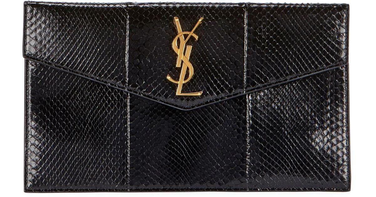 7c3fb4cdb0 Saint Laurent V-flap Ysl Monogram Python Pouch Clutch Bag in Black - Lyst