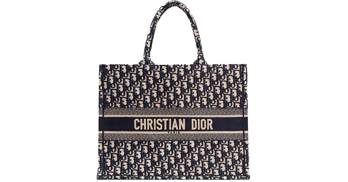 a9a21121cb Dior Logo Embroidered Canvas Book Tote in Black - Lyst