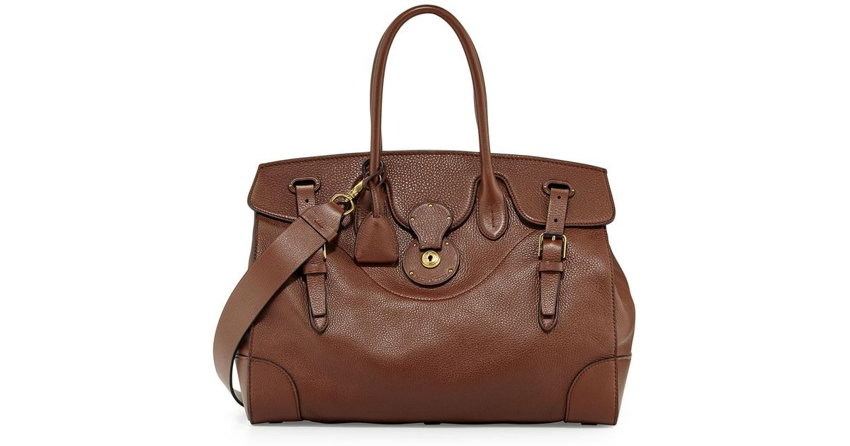b83fe9e1fc Lyst - Ralph Lauren Soft Ricky 40 Leather Satchel Bag in Brown