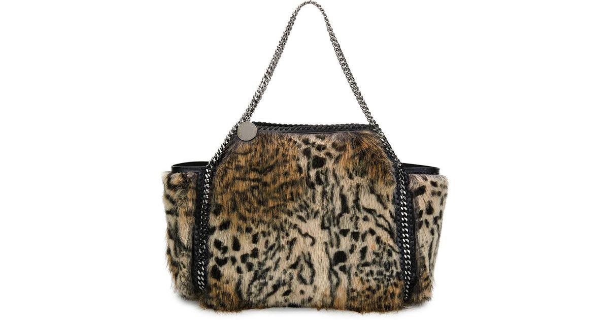10beee44b32d Stella McCartney Small Falabella Snow Cat Fur Free Fur Reversible Tote Bag  in Brown - Lyst