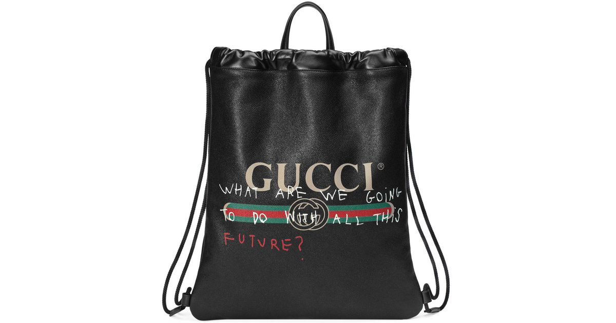 064913a53a9a Lyst - Gucci -print Leather Drawstring Backpack in Black
