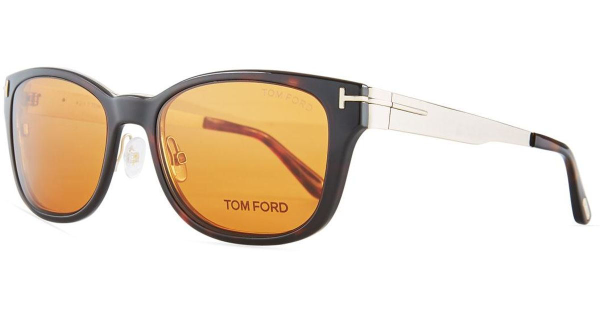 71e82f8acb Lyst - Tom Ford Soft Square Plastic metal Glasses W  Clip-on Sun Lenses in  Brown