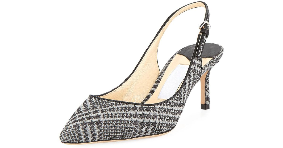 3e6e644223 Lyst - Jimmy Choo Erin 60mm Prince Of Stars Flannel Slingback Pumps in Gray