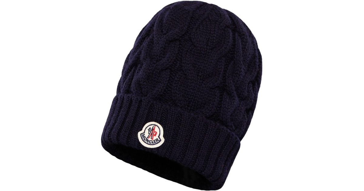 eb970682e Lyst - Moncler Kids  Berretto Virgin Wool Cable-knit Beanie Hat in ...