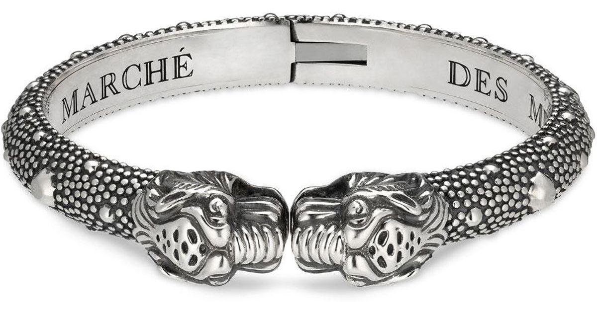 e6069302e Gucci Men's Tiger Head Cuff Bracelet in Metallic for Men - Lyst