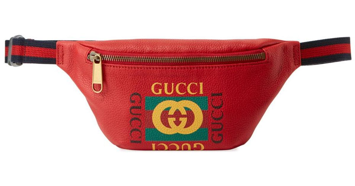 f392e339487 Lyst - Gucci Men s Small Retro Leather Fanny Pack Belt Bag in Red
