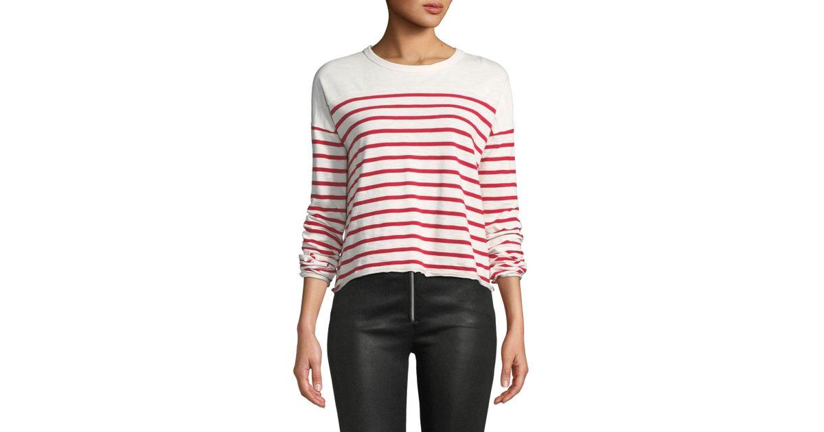 223f98c1f9 Lyst - Rag & Bone Halsey Crewneck Long-sleeve Striped Cotton Tee in Red