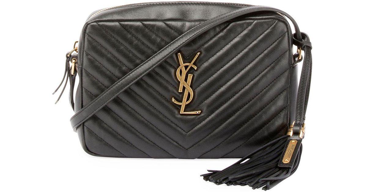 f290d3e27a50 Lyst - Saint Laurent Loulou Monogram Ysl Medium Chevron Quilted Leather  Camera Shoulder Bag in Black
