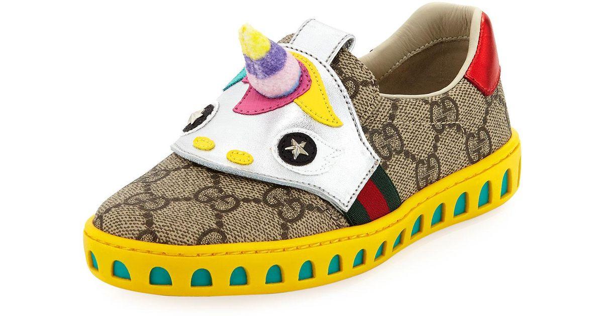 a9eecd4e4 Gucci Gg Supreme Canvas Sneaker W/ Unicorn in Natural for Men - Lyst