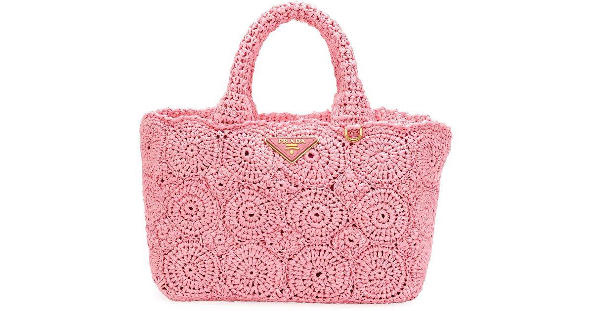 da4cc2330eb7 Lyst - Prada Raffia Circle Tote Bag in Pink