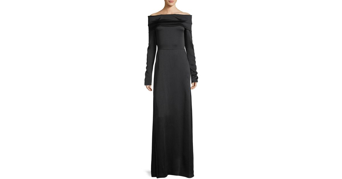 Lyst Theory Off The Shoulder Long Sleeve Elegant Maxi Dress In Black