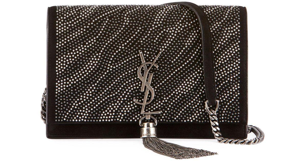 7d10b1cfb91 Saint Laurent Kate Ysl Zebra Crystal-beaded Tassel Chain Crossbody Bag in  Black - Lyst