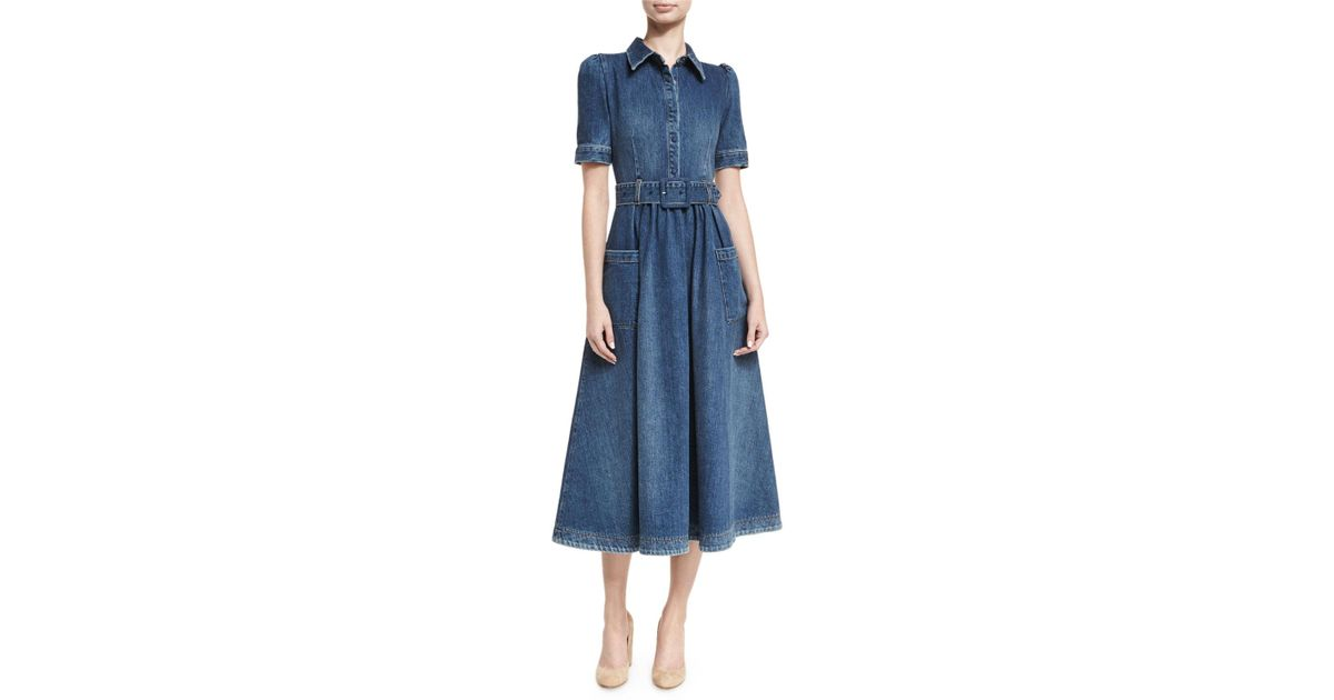152af8a6885 Lyst - Co. Belted Denim Midi Shirtdress in Blue - Save 50%