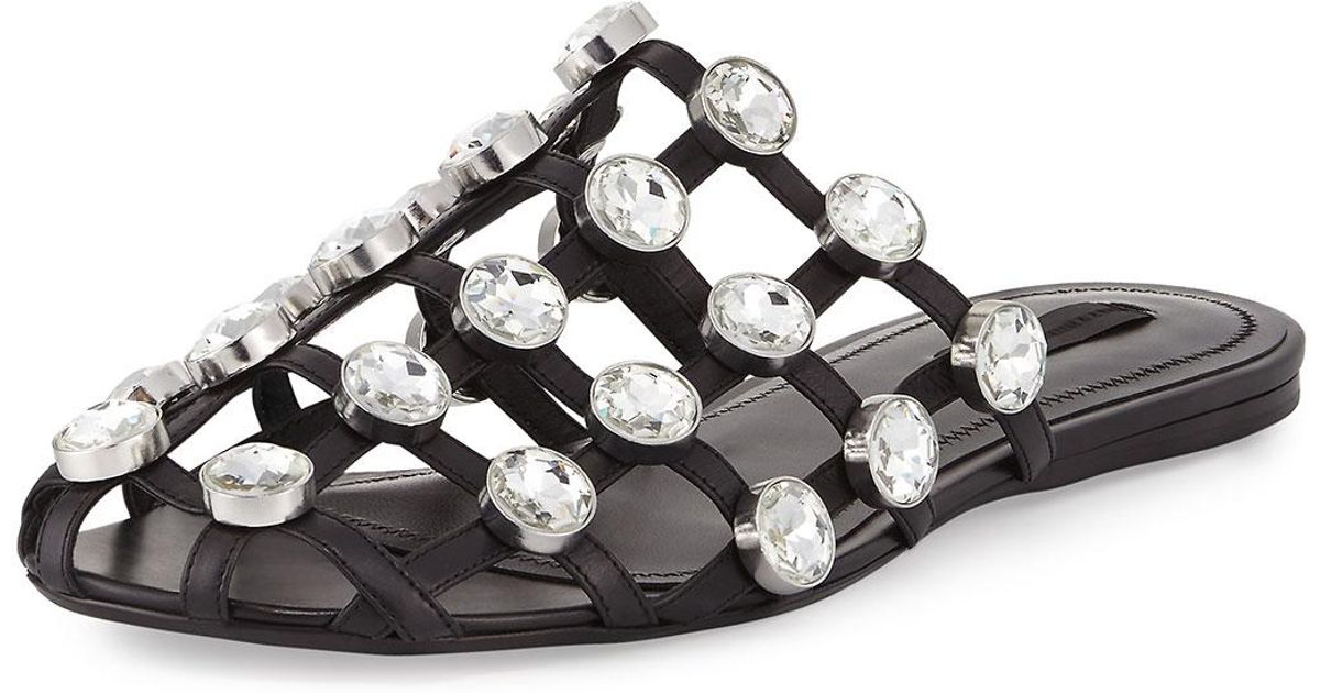 7b8fcafdfb4e1 Lyst - Alexander Wang Amelia Jewel-studded Leather Mule in Black