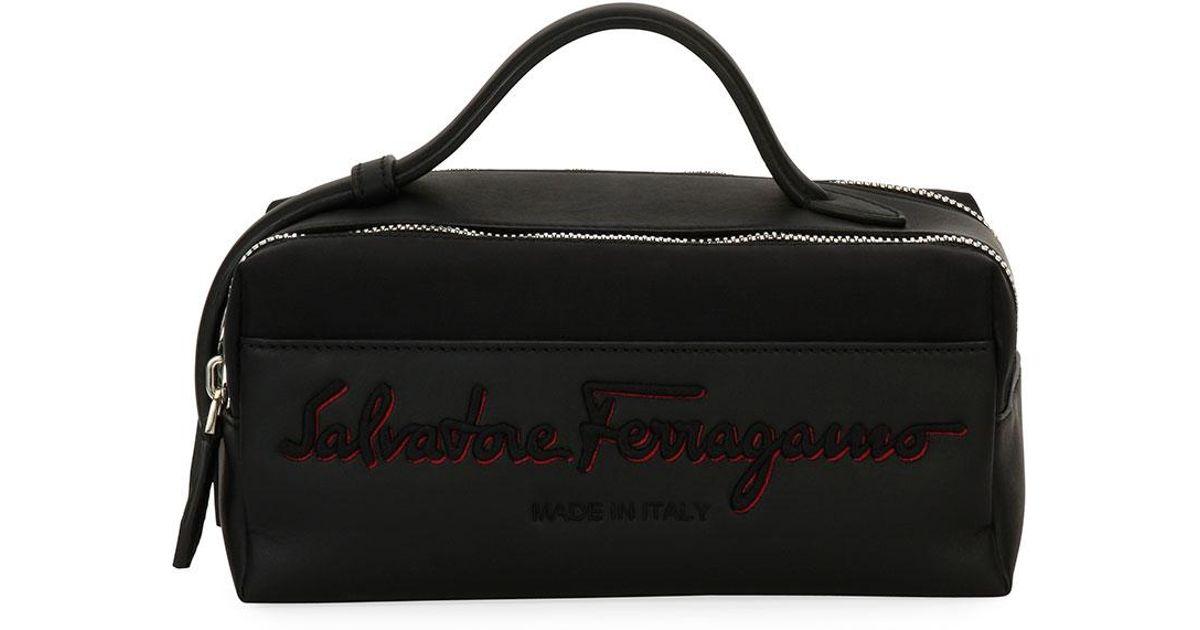 a1efc8ac22 Ferragamo Logo-embroidered Toiletry Travel Case in Black for Men - Lyst