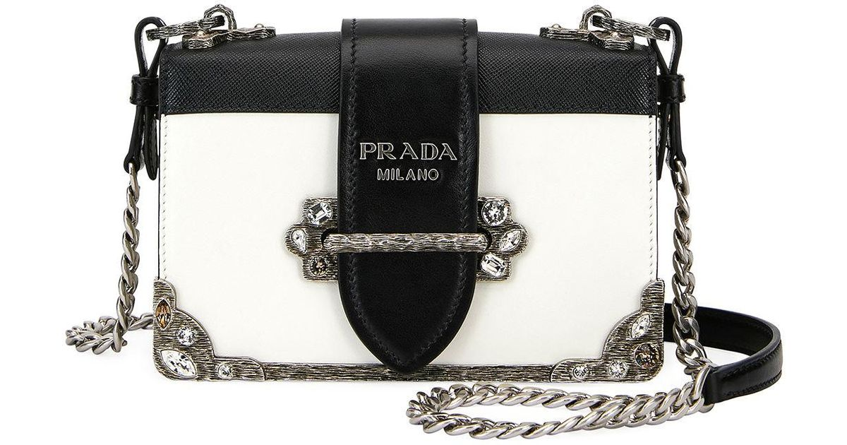9aa53b306f Lyst - Prada Embroidered Small Cahier Crossbody Bag in Black