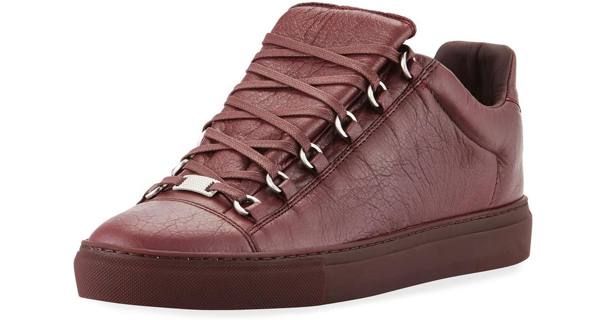 fb56d539f118 Lyst - Balenciaga Men s Arena Leather Low-top Sneakers in Red for Men